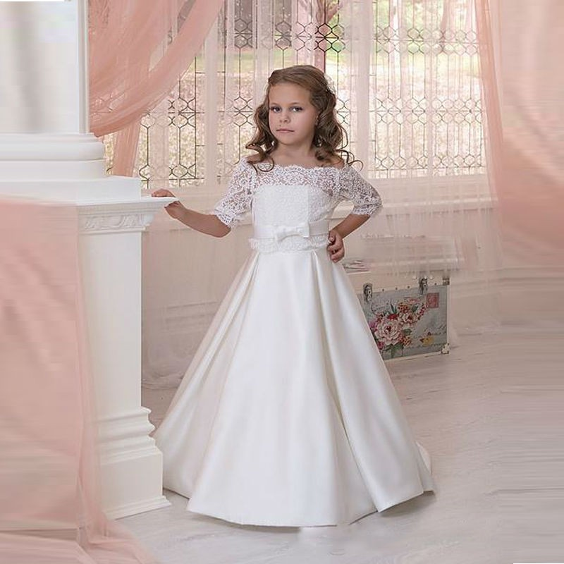 Cheap White Lace   Flower     Girls     Dresses   For Weddings 2017 First Communion   Dresses   For   Girls   Off The Shoulder Bow Knot Sash Belt