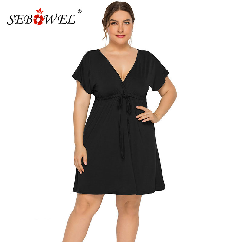 SEBOWEL 2019 Casual Plus Size Womans Solid Short Sleeve Deep V-neck Dress New Summer Female Large Clothes Lace Up Dresses