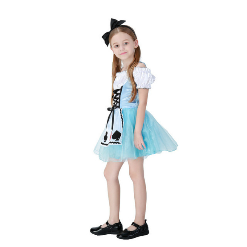 Hot Sale Anime Alice in Wonderland Cosplay Costume Child Girls Dress Princess Dress Cute Stage Costumes