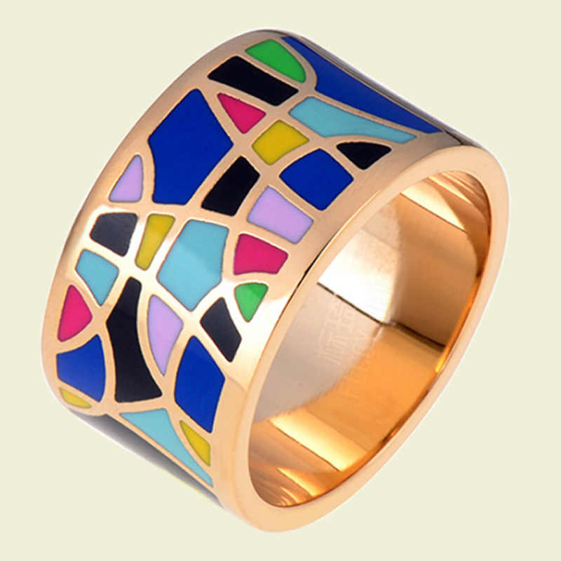 Blucomeสแตนเลสbijouxผู้หญิงแหวนครบรอบที่ดีที่สุดเครื่องประดับC OllaresเคลือบE Smalteแหวนยี่ห้อดูไบอุปกรณ์Anel