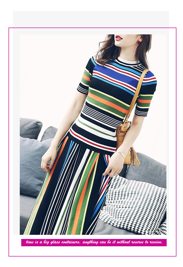 Two Piece Set Skirt Stripe Knit Top For Women Knitted Skirt Set With Blue Striped Top Knitted
