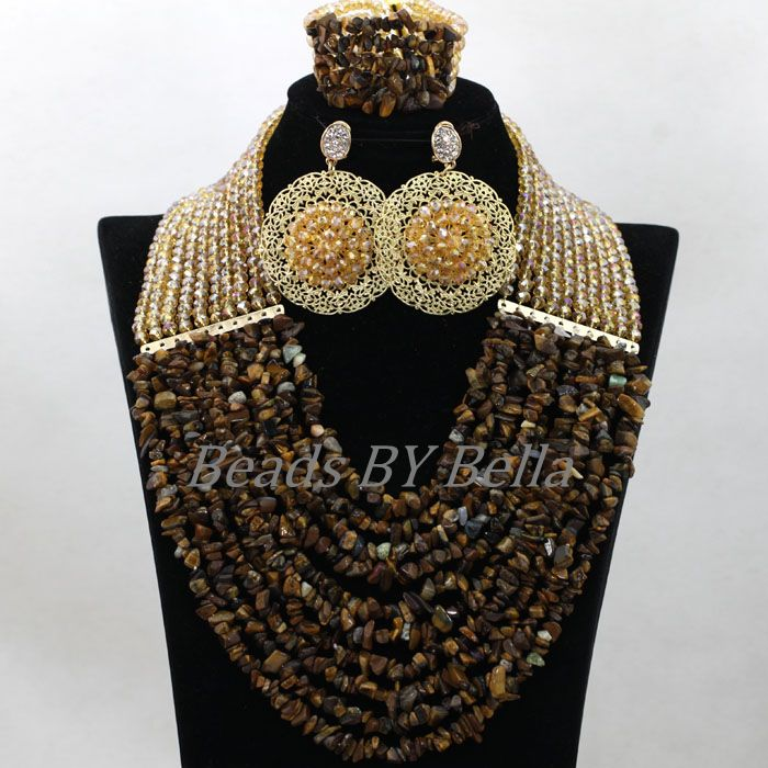 Brown Stone Beads 2017 Latest Fashion African Costume Jewelry Sets ...