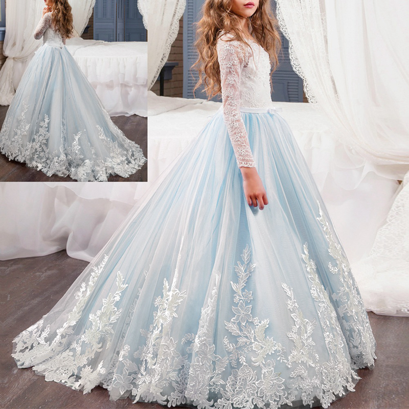Cute Girls Lace Kid Pleated Flower Dress Princess Party Ball Gown Formal Dresses