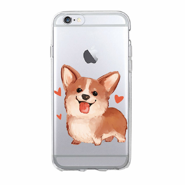 Cute Corgi Printed Soft Transparent Phone Case