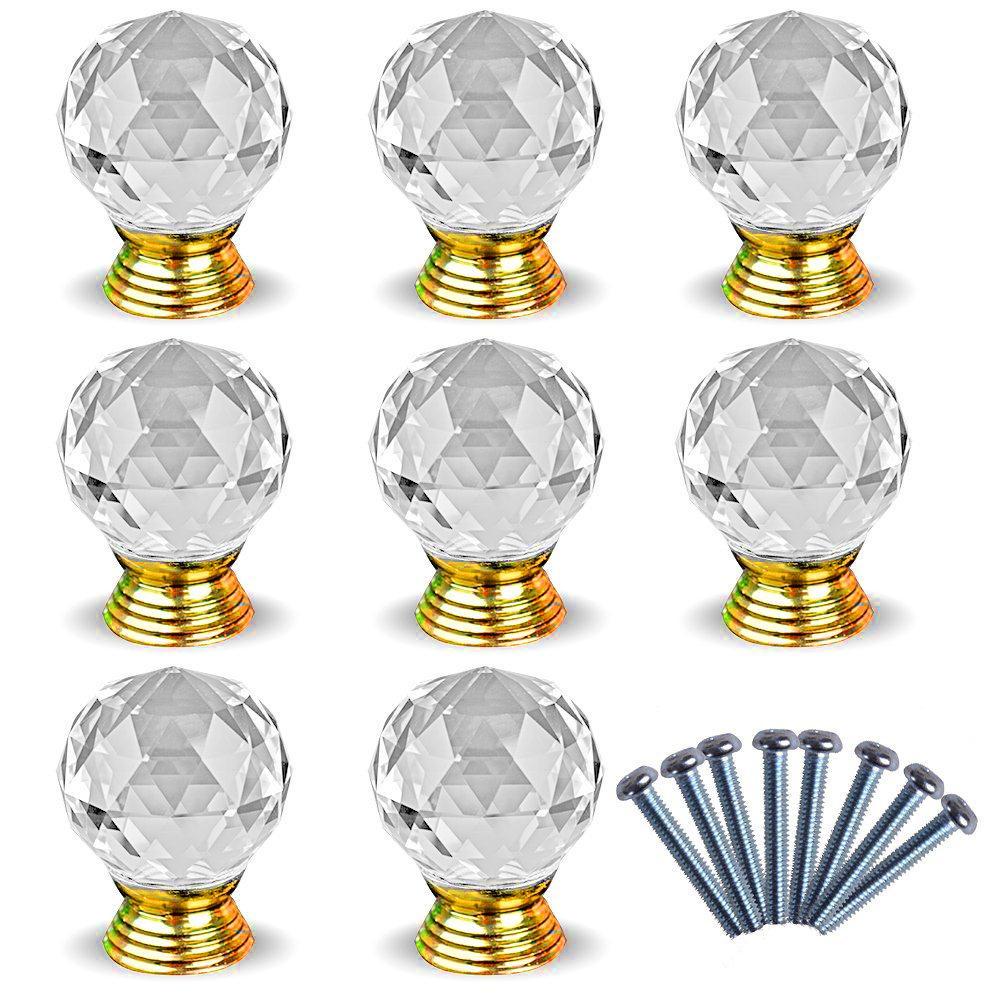 8pcs Poignee Bouton crystal des portes du meuble dore tools
