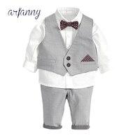 ARFANNY Baby Boys suit Clothes Autumn birthday boy1 2 3 4 5year handsome gentleman Children suits waistcoat shirt 3pieces set