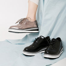 Женская кожаная обувь в винтажном стиле серебристая/Черная на