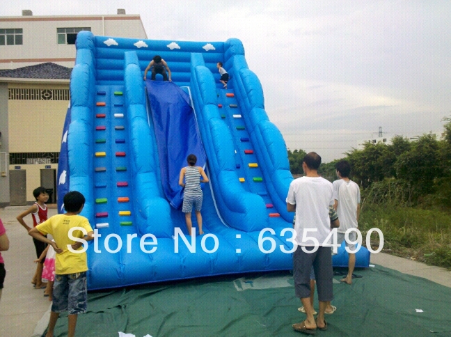 Free shippingPVC8x4m tarpaulin inflatable font b bouncers b font with slide for kids and baby