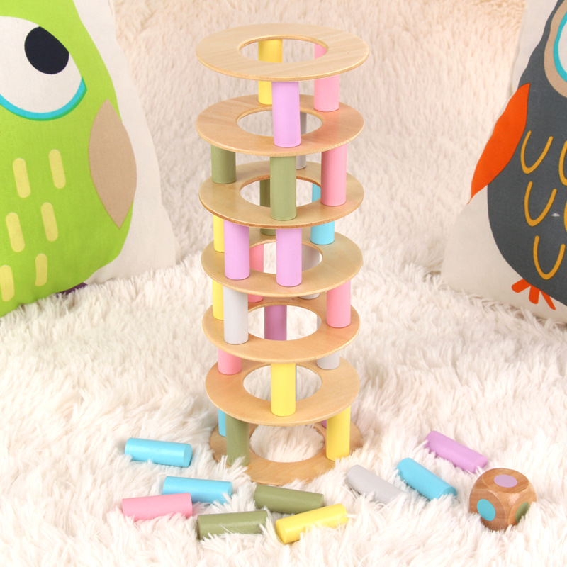 44 pcs Wooden jenga tower Building Blocks Toy Educational Jenga games for Children
