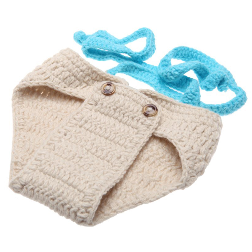 Baby Infant Bow Tie Suspender Hat Suit Crochet Knitting Costume Soft Adorable Clothes Photo Photography Props for 0-6 Month
