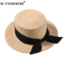 BUTTERMERE Sun Hat Women Summer Straw Boater Rabbon Bow Ladies 2019 Spring Female Korean Fashion