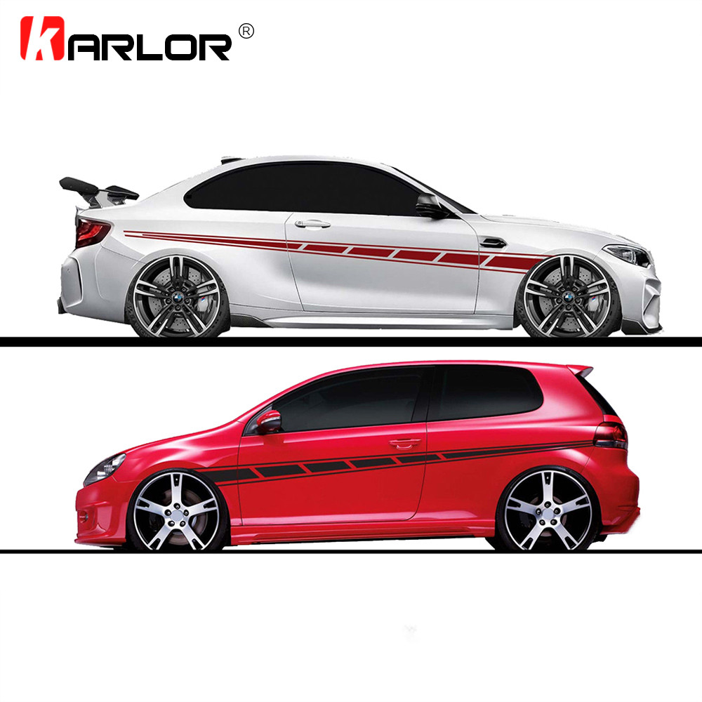 2pcs lot 300x14cm Both Sides Stickers Tuning Style Side Strip Bumper Car Wrap Vinyl Film Automobiles Products Car Accessories