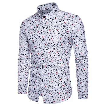 Men's new style 2017 tops casual Shirt men Personality Pentagram printing pattern cotton dress long-sleeved shirts size S-XXL 2019 men s summer new casual pattern printing long sleeved hooded loose temperament trend cotton hoodies harajuku
