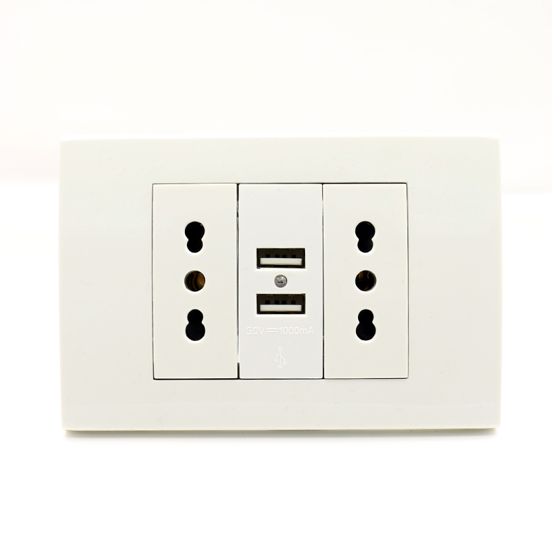 Usb Wall Power Socket Plug Double Italian / Chile Socket With Usb 1000mA USB Charger Port For Mobile 118mm*80mm