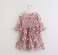 Newest Summer Style White Dusty Pink Tulle Girls Lace Dress With Exquisite Embroidery Classic Princess Easter