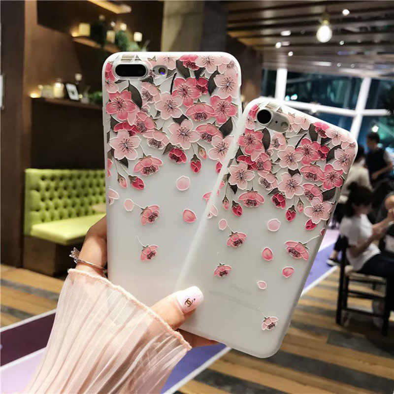 Flower Silicon Phone Case For iPhone 7 8 Plus XS Max XR 3D Rose Floral Cases For iPhone X 6 S 6S Plus 5 SE Soft TPU Cover Coque