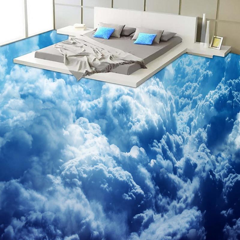 Custom Self adhesive Floor Mural Modern Blue Sky Clouds 3D