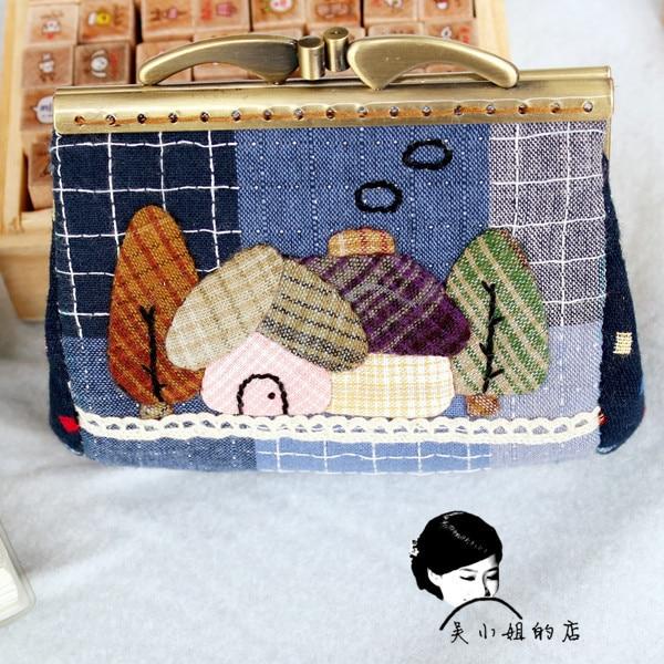 Gift handmade fabric diy patchwork material kit female long design gold coin purse cartoon house metal frame handbag
