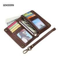 GENODERN мужской кошелек из натуральной кожи брендовый дизайн клатч кошелек для мужчин на молнии портмоне держатель для карт удобные кошельки