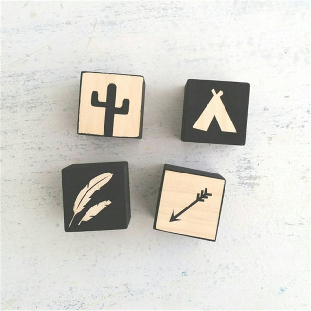 4pcs Wooden Square Four Design Best Gifts For Children Natural