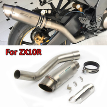 Motorcycle Exhaust Escape Tail Muffler Pipe Slip-on Mid Link Pipe Connection Pipe for 2008-2017 Kawasaki ZX10R ZX-10R