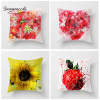 Fuwatacchi Love Series Flower Cushion Cover Sunflower Roses Pillow Covers For Home Sofa Chair Decor Red Yellow Floral Pillowcase