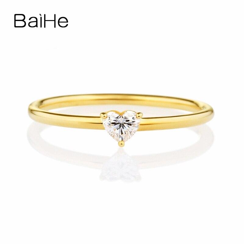 BAIHE Solid 14K Yellow Gold(AU585) 0.15ct H/SI Heart cut 100% Genuine Natural Diamond Engagement Women Fine Jewelry Fashion Ring цена