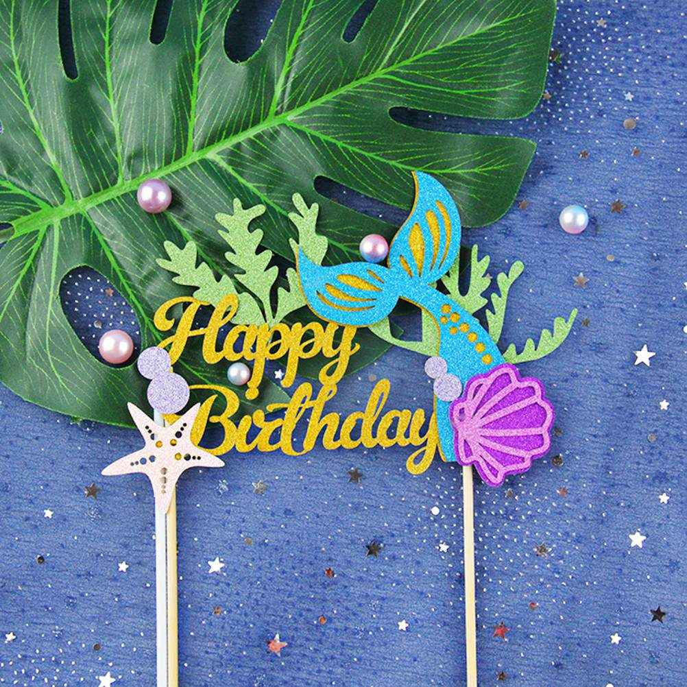 5PCS Cake Picks Cake Toppers Paper Mermaid Party Decoration Supplies Cupake Picks Cupcake Toppers for Birthday Kids