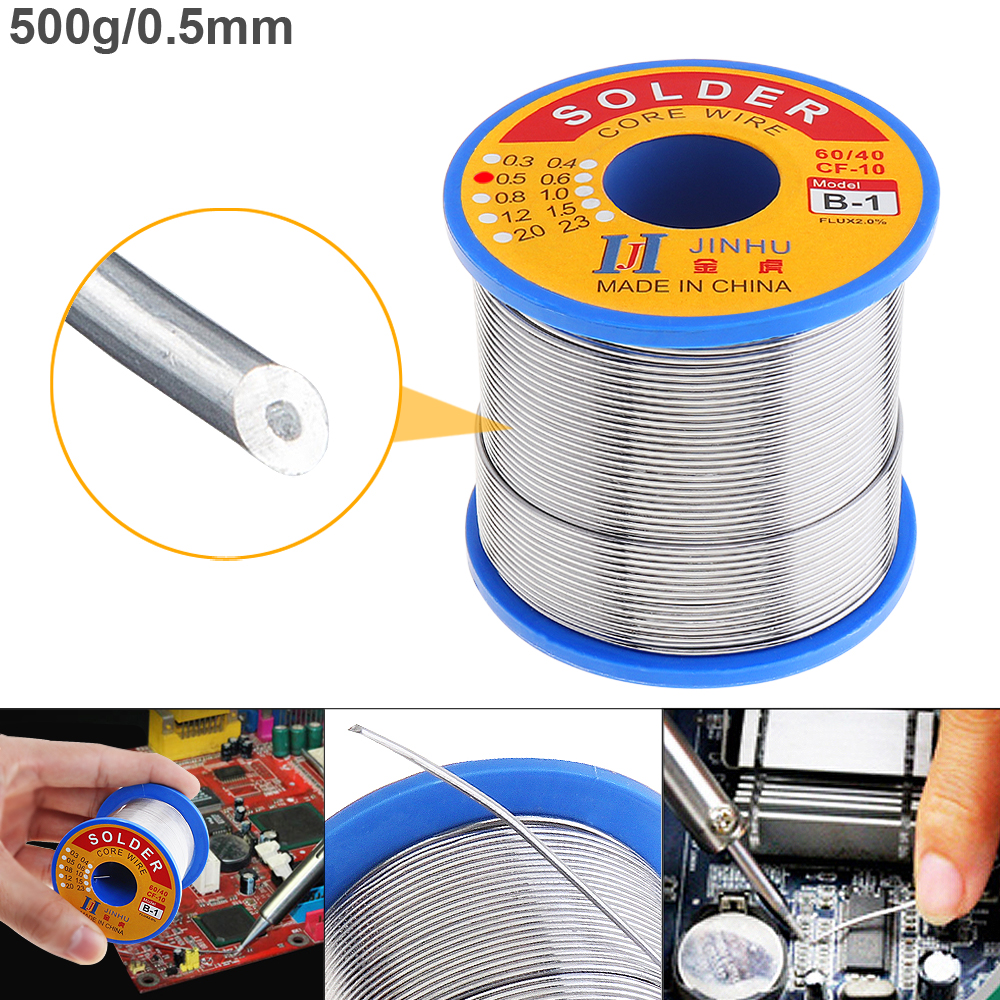 60/40 B-1 500g 0.5mm-2.0mm No-clean Rosin Core Solder Wires With 2.0% Flux And Low Melting Point For Electric Soldering Iron