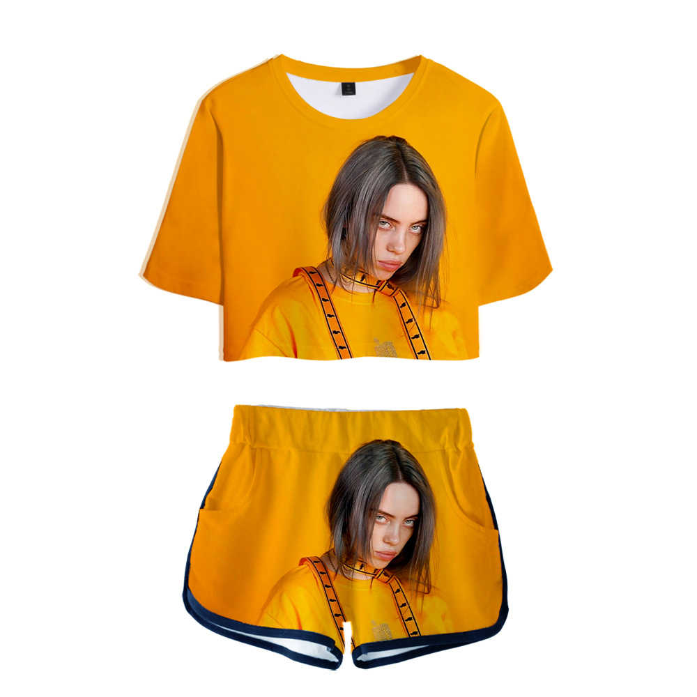 Kpop 3d Billie Eilish Two Piece Set Women Pajamas Tshirt Shorts Crop Top Shorts Summer Soft Clothes Tracksuit Together Sets 2xl Aliexpress