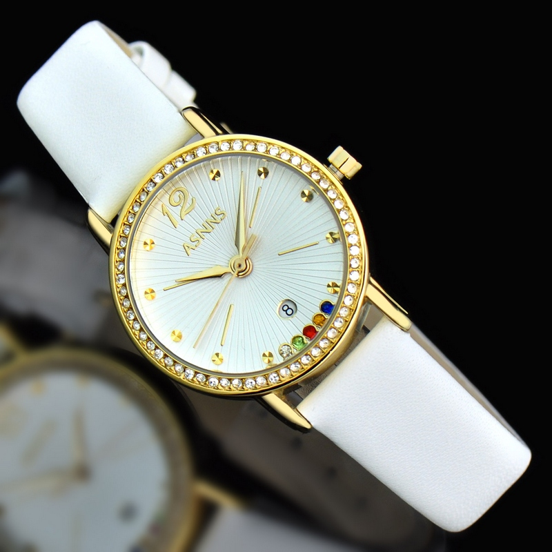 ASNNS colorful genuine leather belt fashion sense gem diamond ring mirror watches lady genuine leather watch