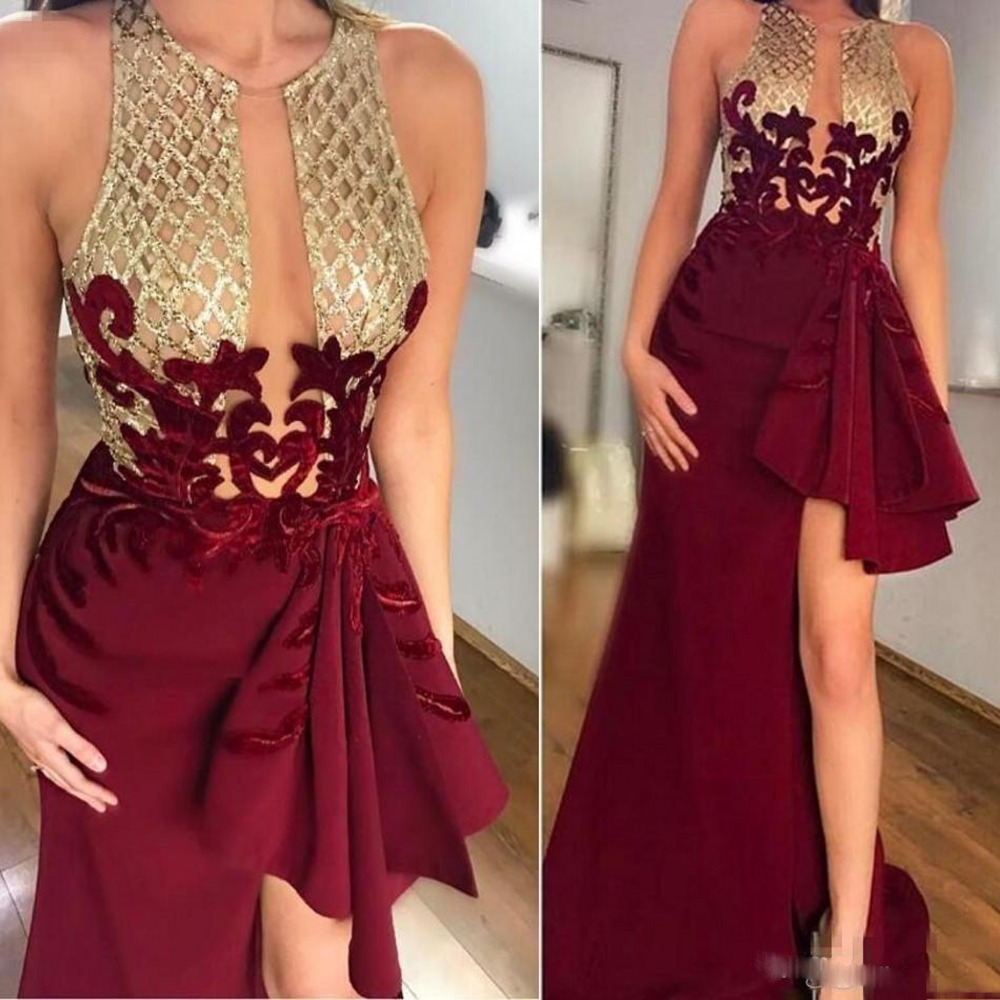 2019 Sexy Burgundy High Split Mermaid Prom Gowns Gold Seuqined Appliques Long Evening Gowns Chic Formal Clothing Custom Made