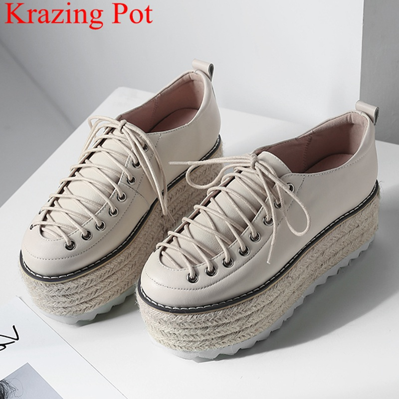 2019 Superstar cow leather high heels straw lace up increased women pumps elegant sweet platform thick