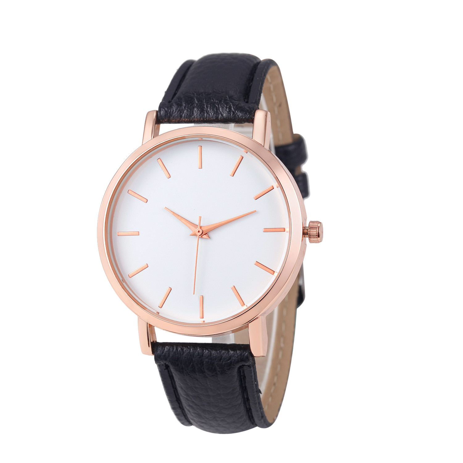 Fashion Lady Watch with Black Leather Strap