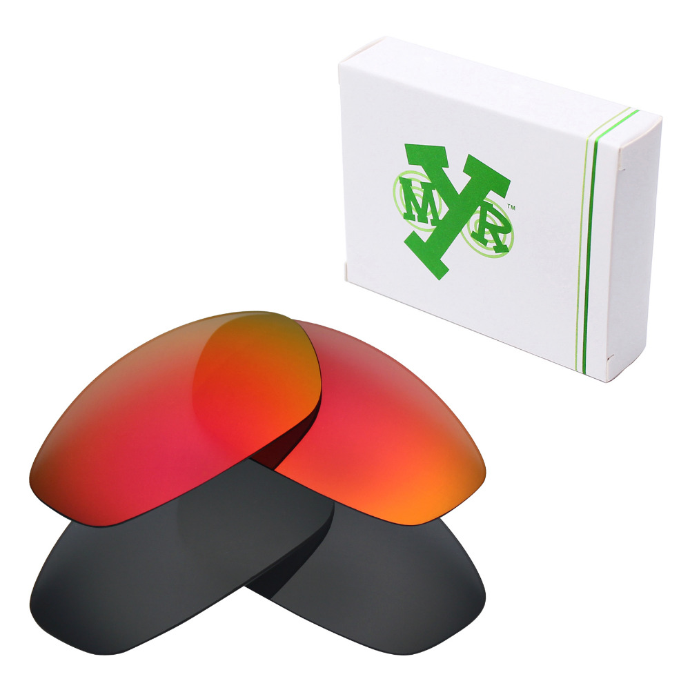 2d3ca84c14ca1 2 Pairs Mryok POLARIZED Replacement Lenses for Oakley Whisker Sunglasses  Stealth Black   Fire Red