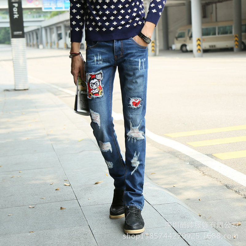 Europe and the United States four seasons fashion hole jeans male straight Slim beggar jeans men tide  цены онлайн
