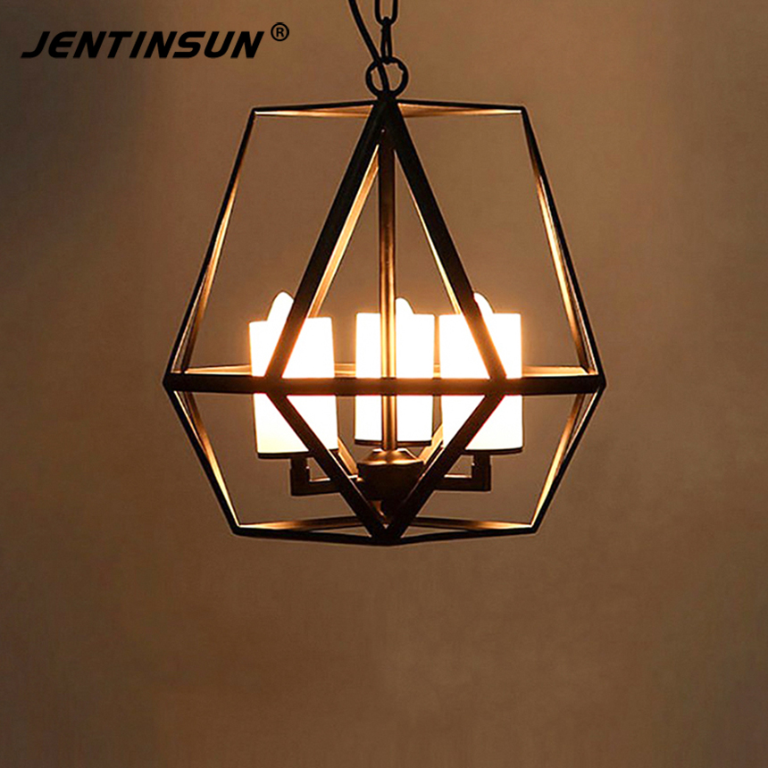 American Retro Pendant lights Industrial Loft Style Wrought Iron Cages Candelabra Candle Hanging Light Lamp For Bar Restaurant retro matte black iron ceiling light american industrial iron lights