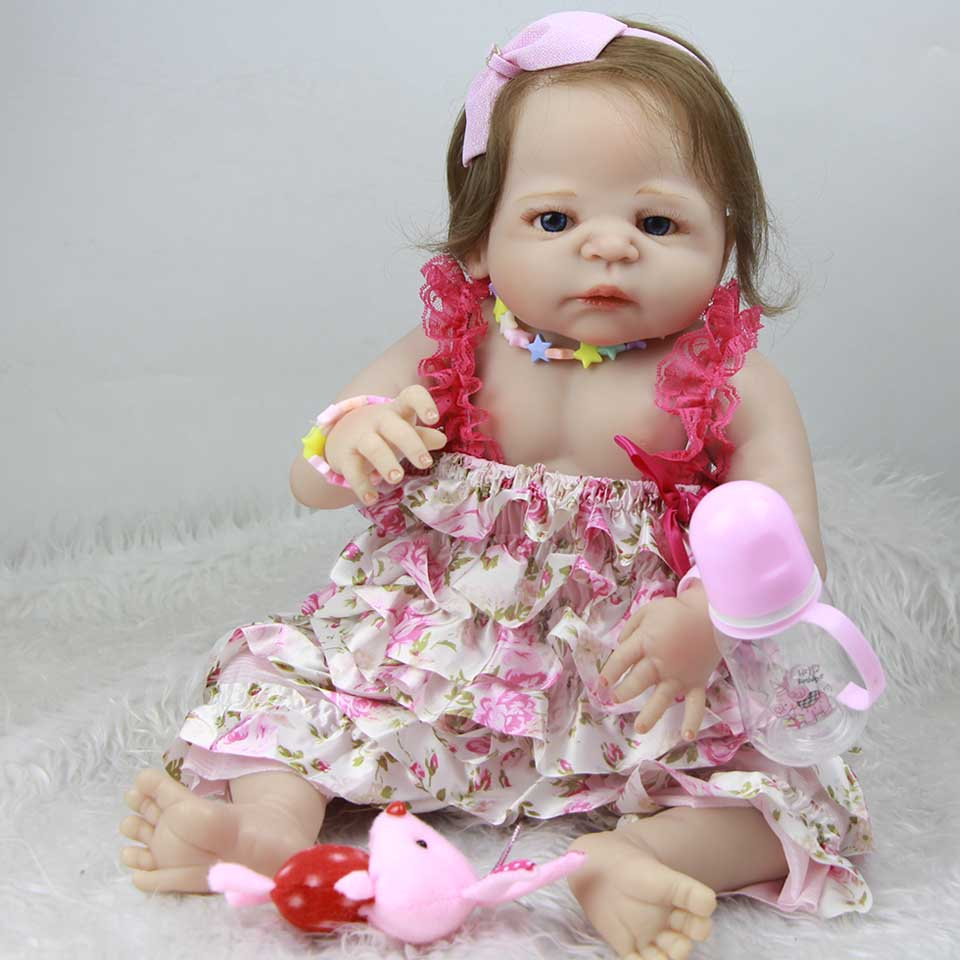 цены Full Silicone Vinyl 23'' Reborn Baby Dolls Realistic Girl Baby Dolls Truly White Skin Princess For Sale Fiber Hair Kids