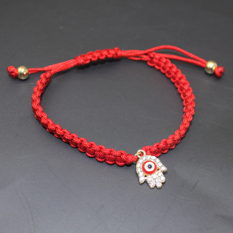 Foreign Trade Hand Jewelry Multi - Color Hand -Woven Hand Rope Turkey Alloy Pendant Palm Red Rope Bracelet Female 016