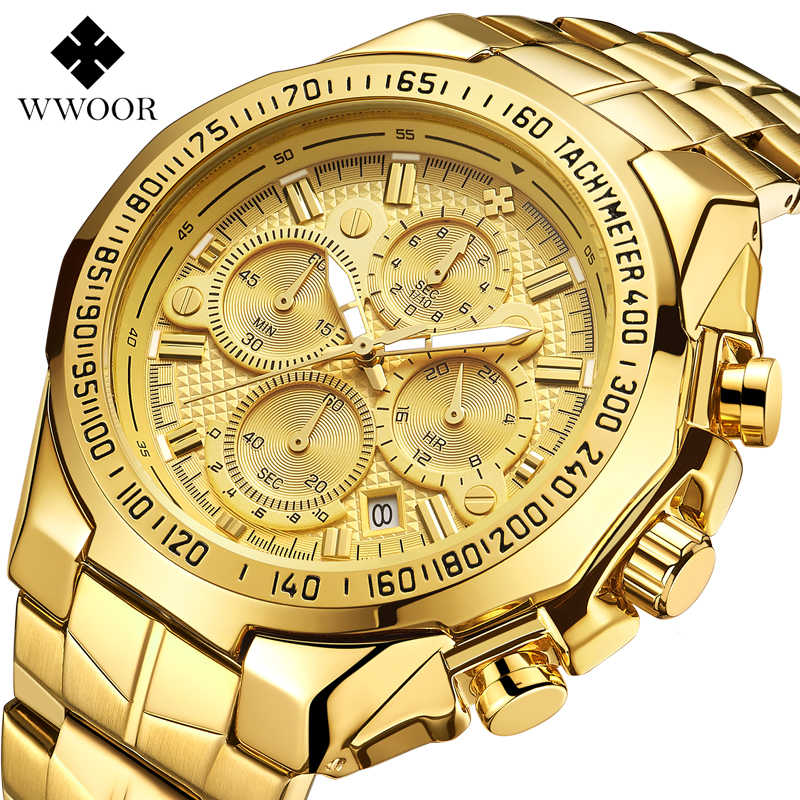2019 New Brand Luxury Big Dial Men Watch Military Quartz Watch Stainless Steel Casual Sport Business Gold Wristwatch Men's Clock