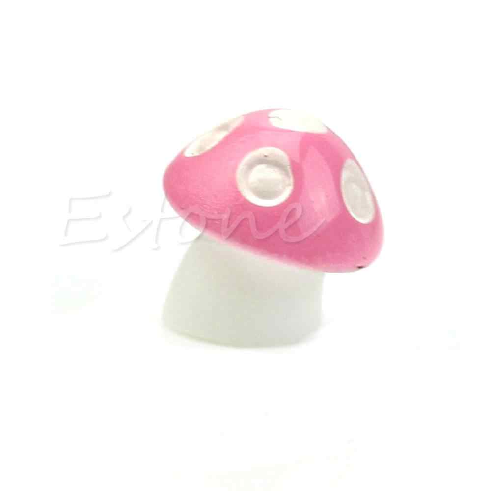 1X Warna-warni Jamur Payung Miniatur Patung Peri Taman Terarium Dekorasi
