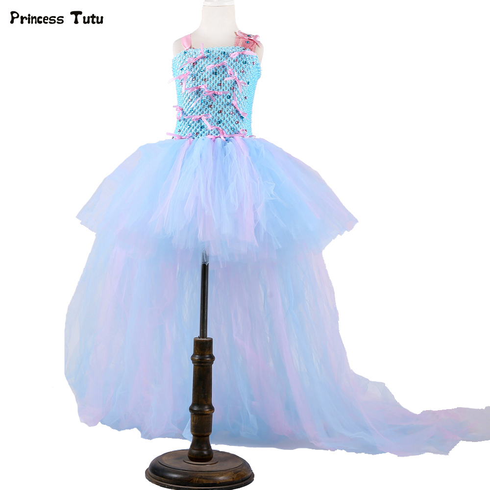 Pink & Blue Tutu Dress with Long Train Lace Straps Bow-knot Tulle Flower Girl Dress Ball Gowns Kids Girls Wedding Party Dresses 2018 lovely baby infant toddler little girls birthday dress long sleeve lace tulle flower girl dress tutu ball gowns