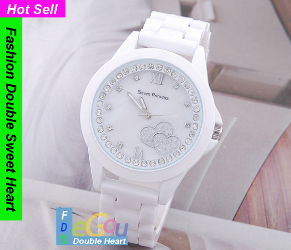 Double Sweet Heart Ceramic Watch Women Wristwatches, Ladies Watch, Fashion Watches - China Cellphone Repeater online Store store