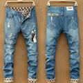 2017 spring autumn high quality Straight jeans male long trousers ripped slim hole cuffs casual denim ripped jeans for men
