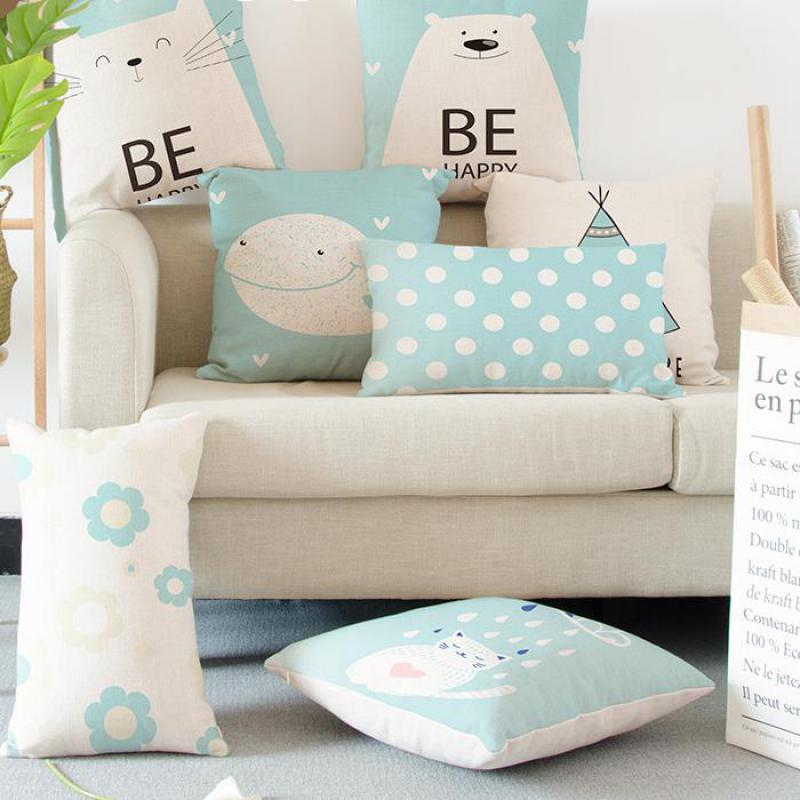 Cute Animal Bear Pillow Be Happy Cartoon Cat Whale Owl Yoga Tent Flower Lumbar Cushion Almofadas Para Sofa For Bed Sofa Office