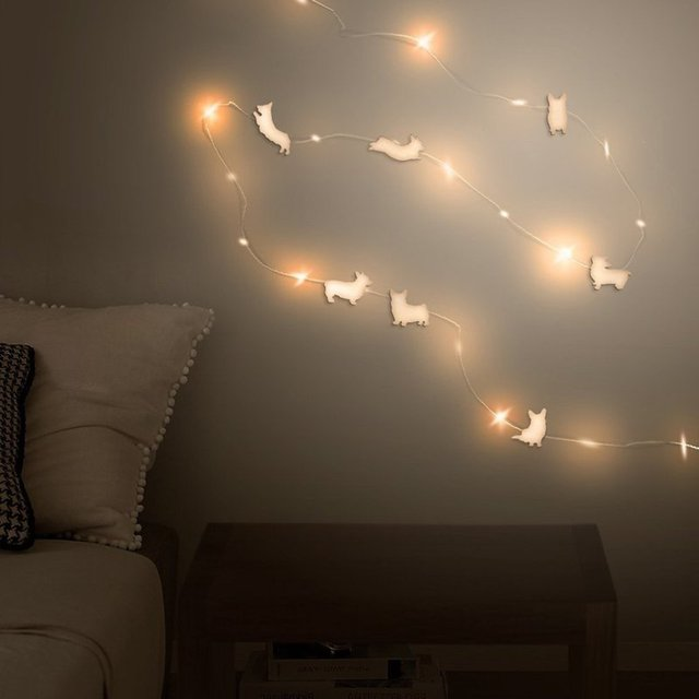Wood Dog Led Light String European Hanging Lamp Room Decoration Lights Firefly Ornament Gift