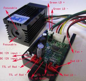 Image 2 - סופר לייזר יציב 200mW 532nm ירוק לייזר מודול שלב אור RGB לייזר ראש מודול דיודה לייזר TTL DC 12V luces לייזר נורות