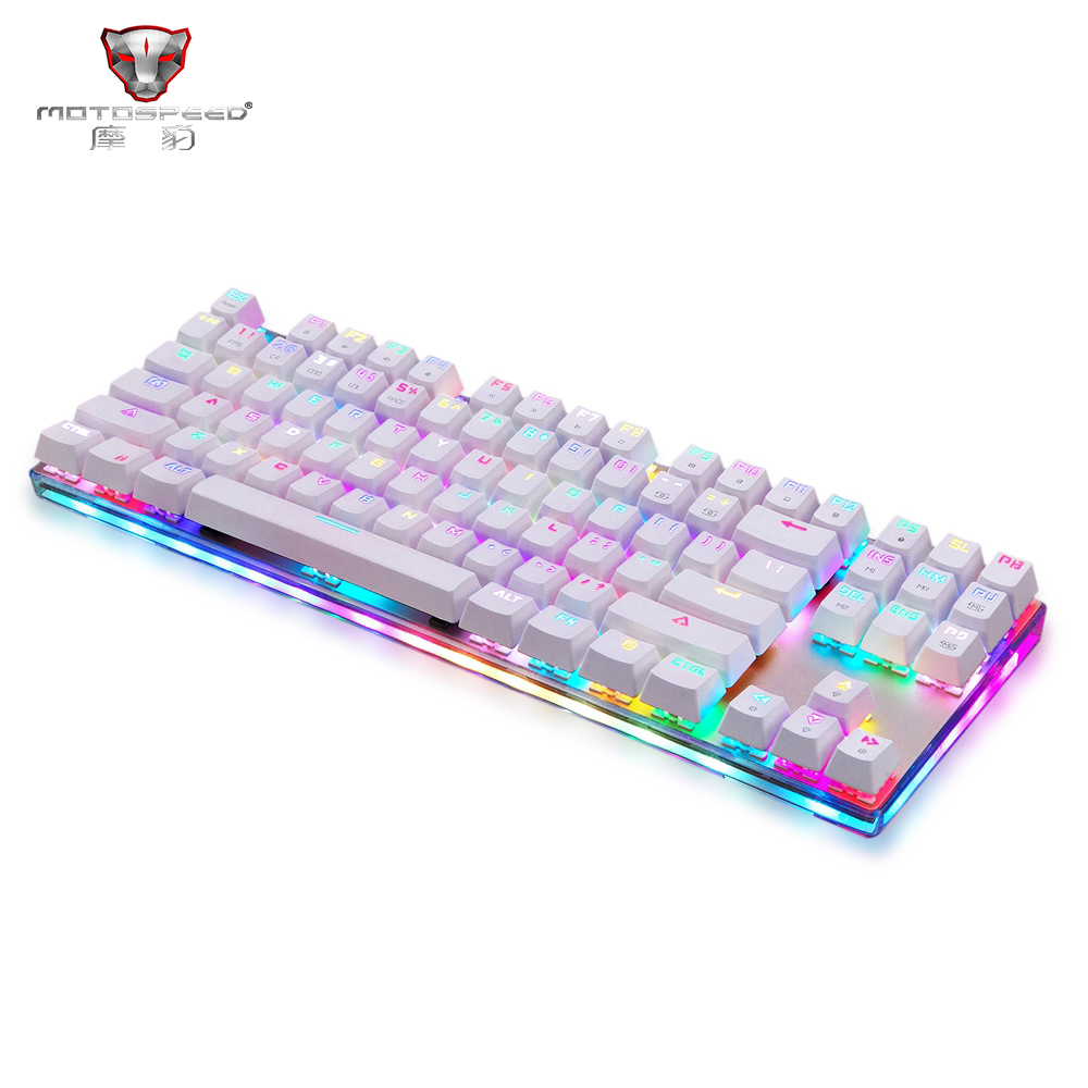 NEW Motospeed K87S USB Wired Mechanical Keyboard Blue Switches Gamer Keyboard with RGB Backlight 87 Keys for PC Computer Gaming rainbow gaming backlight keyboard 87 keys colorful mechanical keyboard with blue black switches desktop for pc laptop