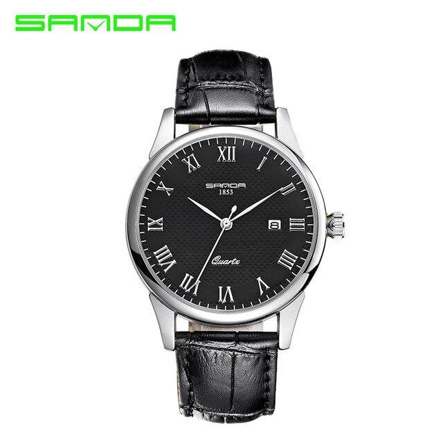 2016 Nueva Sanda Amantes de Cristal Relojes Reloj de Cuarzo Resistente Al Agua Reloj masculino del relogio Correa de Cuero Hombres de Negocios Delgado
