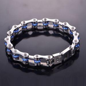 Image 5 - SDA Fashion 316L titanium Steel Bracelets Blue & Purple Crystal Motorcycle Chain Bracelets 10mm wide 17CM~22CM